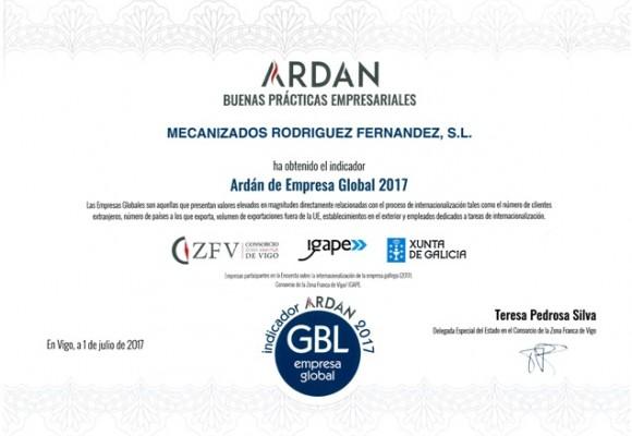 """"""" ARDÁN EMPRESA GLOBAL 2017"""" MRF Solutions galardonados por el Consorcio de la Zona Franca de Vigo con el indicador"""